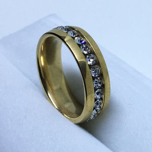 Gold White CZ Center Line on Stainless Steel ring